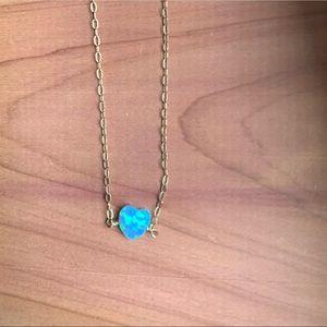 Jewelry - Tiny Opal Pendant Heart Necklace